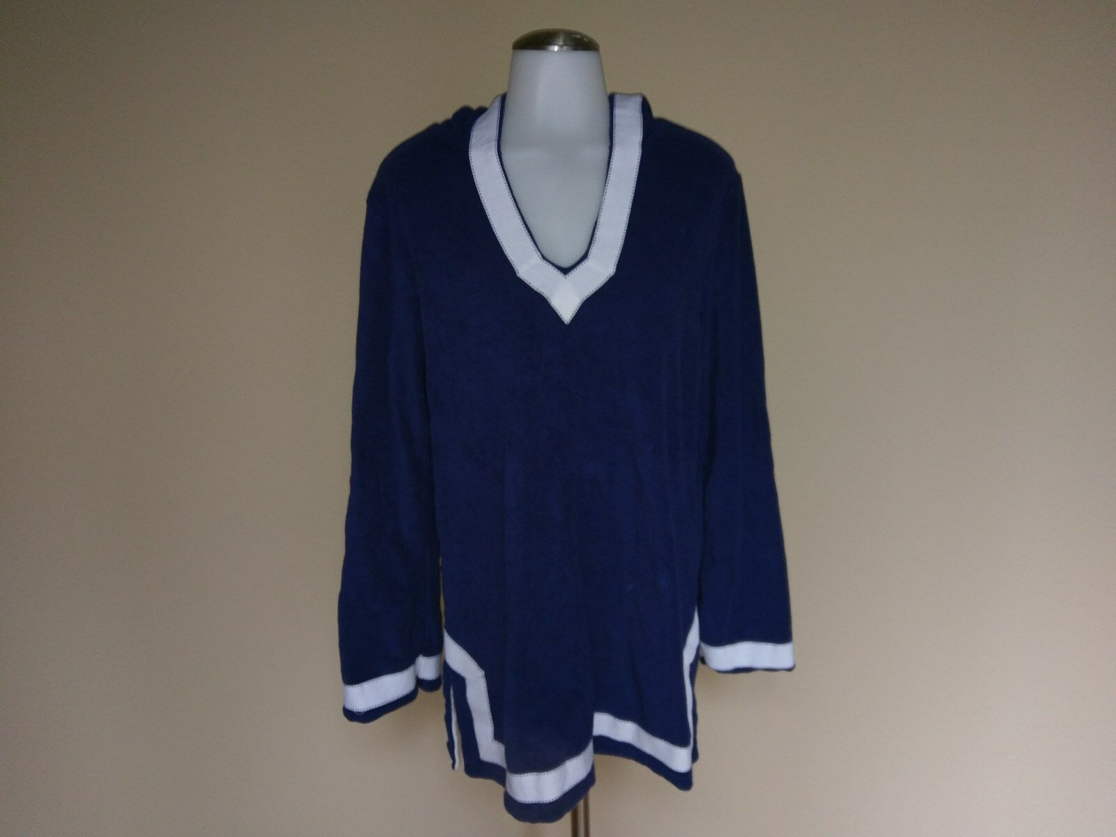 Lands' End Small Navy bluee Terry Cloth Tunic Top Swim Cover Up White Cotton Hood