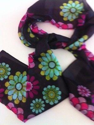 100% Sciarpa Di Seta-nero A Fiori Rettangolare Sciarpa Da Ragazze E Perle-mostra Il Titolo Originale