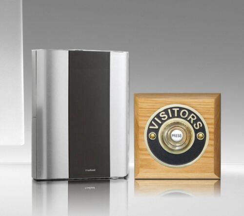 Wireless Doorbell kit with Wireless Period Visitor Brass Push Friedland Libra