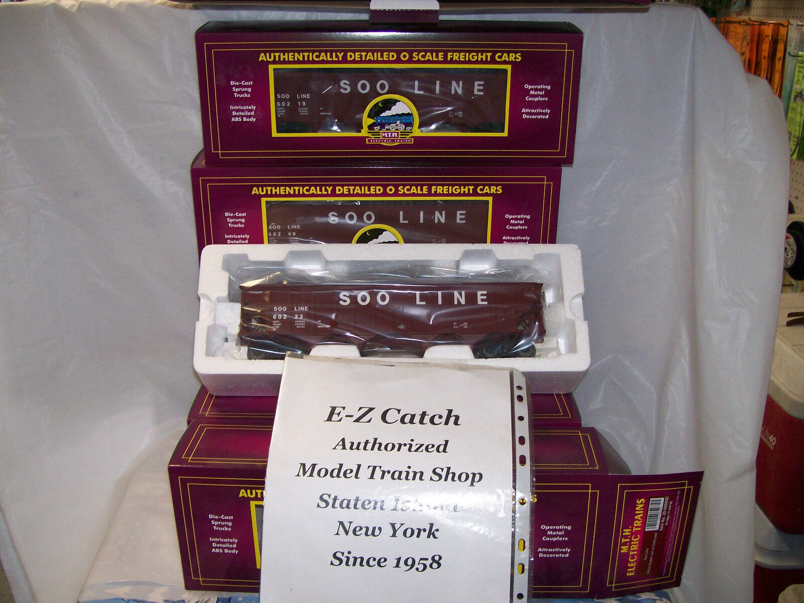 Soo Line MTH Premier O Scale 4-Bay Hopper 6 Car Freight Set with Coal Loads Rare