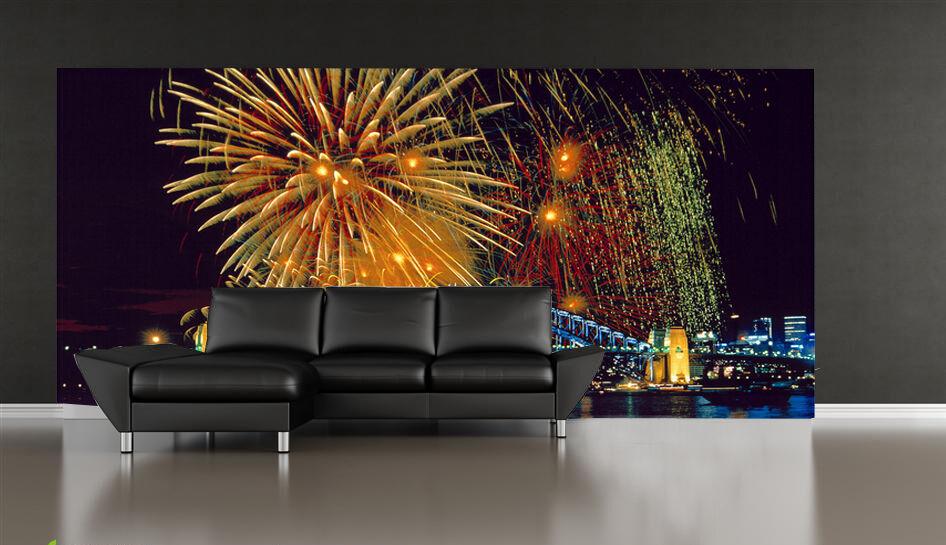 3D Australien Feuerwerk Fototapeten Wandbild Fototapete Bild Tapete Familie