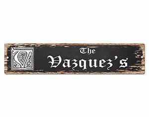 SPFN0328-The-VAZQUEZ-039-S-Family-Name-Street-Chic-Sign-Home-Decor-Gift-Ideas