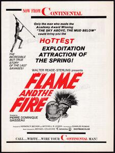 FLAME AND THE FIRE__Original 1966 Trade print AD / promo__Exploitation_Cannibals