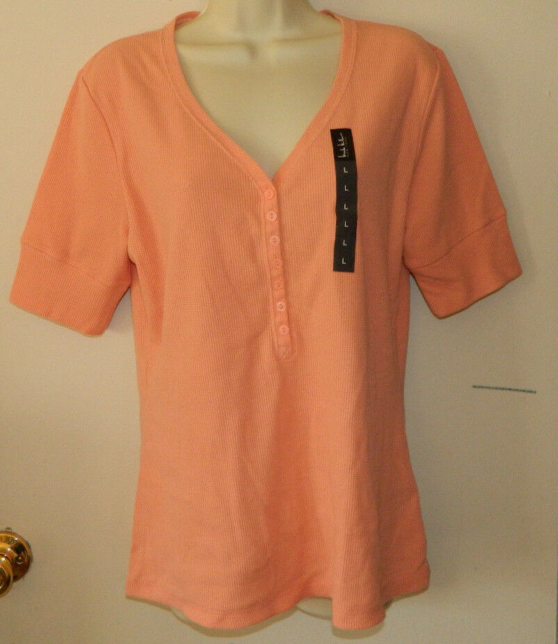 New Women  Nicole Miller Solid Peach Short Sleeve Casual  Work Top Size L NWT