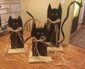 Wooden Black Cats Set Of 3 Fall Halloween Decorations Ebay