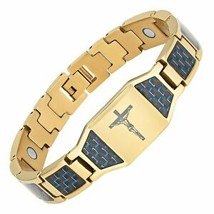 Christian-Jesus-Crucifix-Cross-Blue-Carbon-Fiber-Titanium-Magnetic-Bracelet