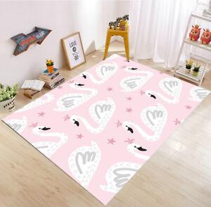 Creative Cartoon Cute Swan Princess Area Rugs Kids Bedroom