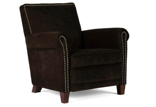 Dark Brown Velvet High End Accent Chair, Club Chair, Cigar Chair with Nail Heads