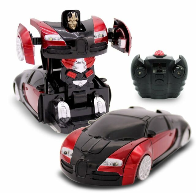 Kids Toys RC Wall Climbing Transforming Robot Car For Boys 1:24 Scale Red