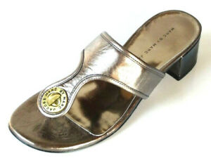 MARC-JACOBS-slides-gunmetal-leather-TURNLOCK-logo-block-heel-mules-shoes-NIB