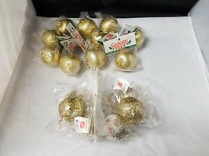 Image Is Loading Gold Christmas Tree Ornaments Set Of 18 Garden