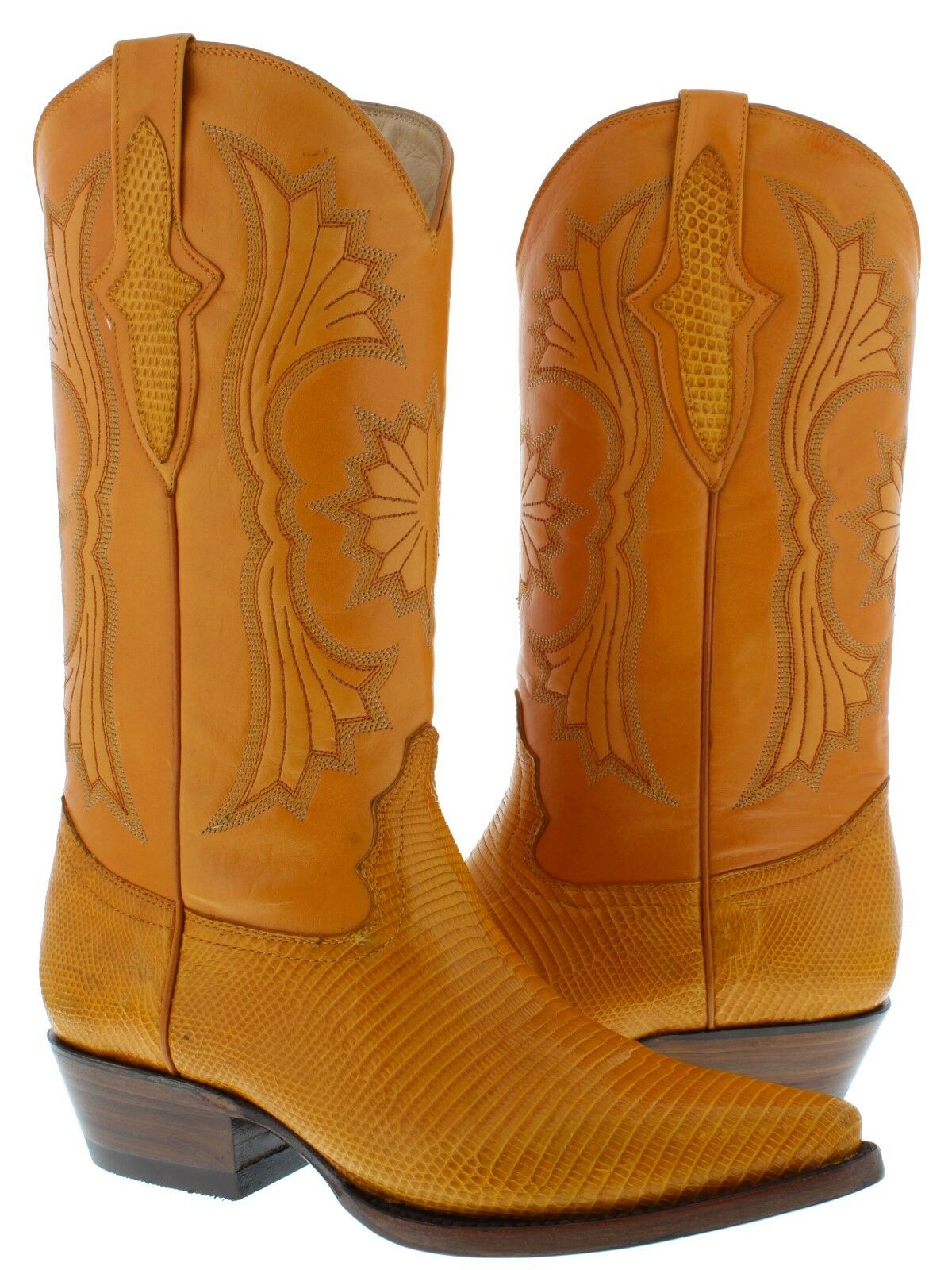 Men's Buttercup Yellow Real Lizard Skin Leather Cowboy Boots