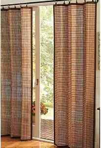 Curtain Blind Shade Bamboo Window Panels Cotton Trims Eco