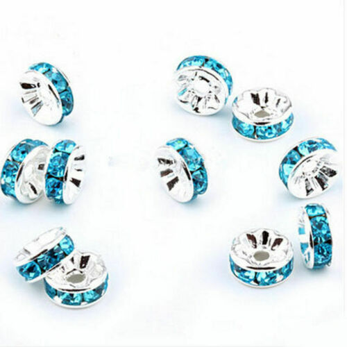 2020 Wholesale 100Pcs Silver Plated Crystal Rhinestone Rondelle Spacer Beads 8mm