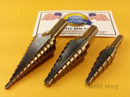 3 pc Step Drill Bit Set Alésoir Étape Bit Set Unibit Garantie à vie Perceuse Hog ®