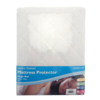King Size Bed Luxury Quilted Mattress Protector White