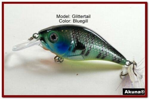 "Akuna Glittertail 3/"" Shallow Diving Square Bill Crankbait Fishing Lure in Colors"