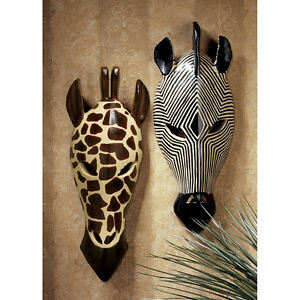 Details About African Mask Art Artwork Wildlife Animal Sculpture Africa Safari Wall Decor Gift