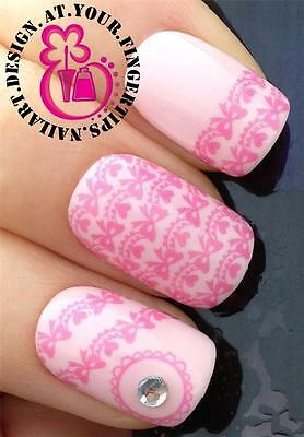 NAIL ART WATER TRANSFERS STICKERS DECALS PRETTY PINK BOWS & HEARTS BUNTING #141