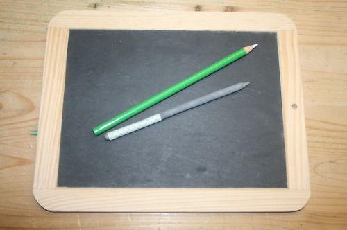 1 Set Schiefertafel, Griffel, Kreidestift, echt Schiefer,Holzrahmen,Neu, 24x19cm