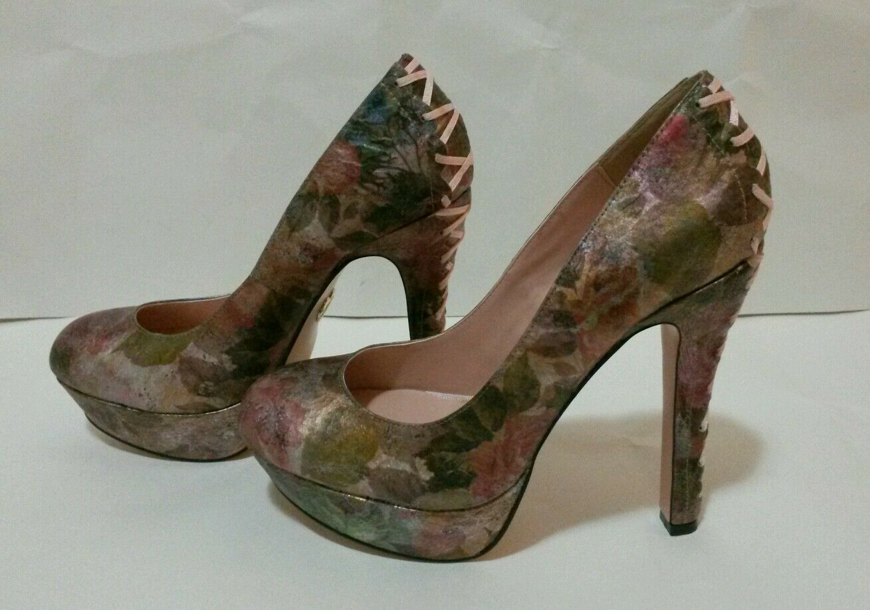 Betsey Johnson Ditan Womens    Floral Multi Leather Platforms Heels shoes Size 9.5 ff569d