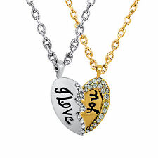 Valentine Crystal I Love You Broken Heart Dual Plated Pendant by Mahi PS1101536M