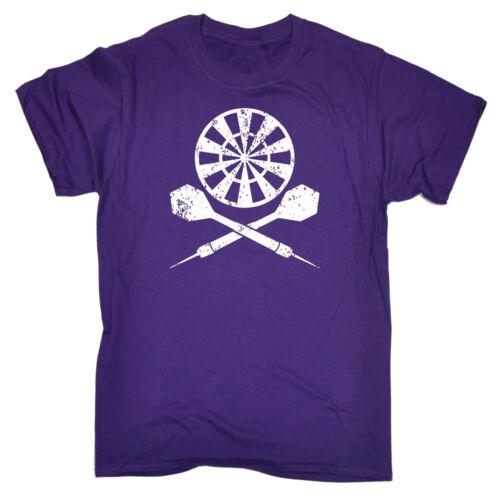 DART BOARD Cross T-shirt Freccette Frecce Ossa Incrociate Player Divertente Regalo Di Compleanno