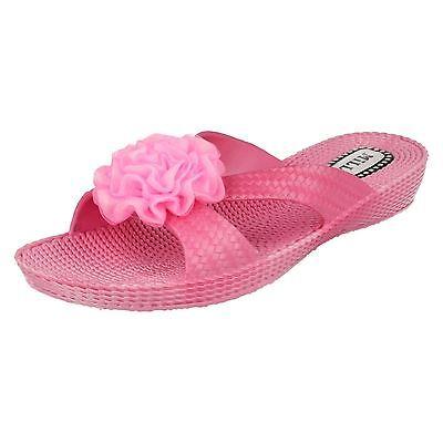 Damas Millie Rosa Cuña Slip On Mula Estilo - 002
