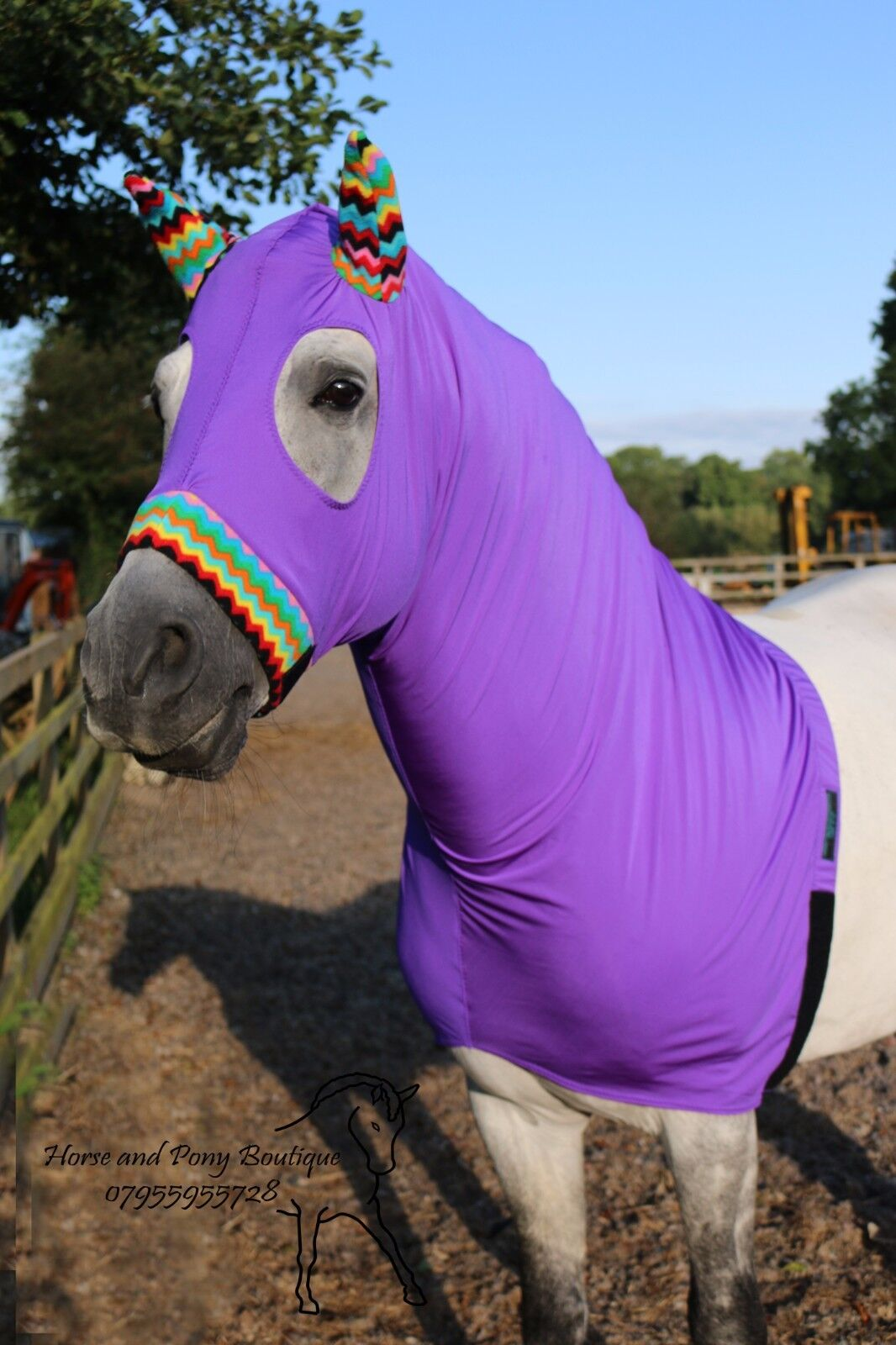 lila lycra horse hood with zig horse zag fleece trim horse zig hood,horse showing hood 4ce144