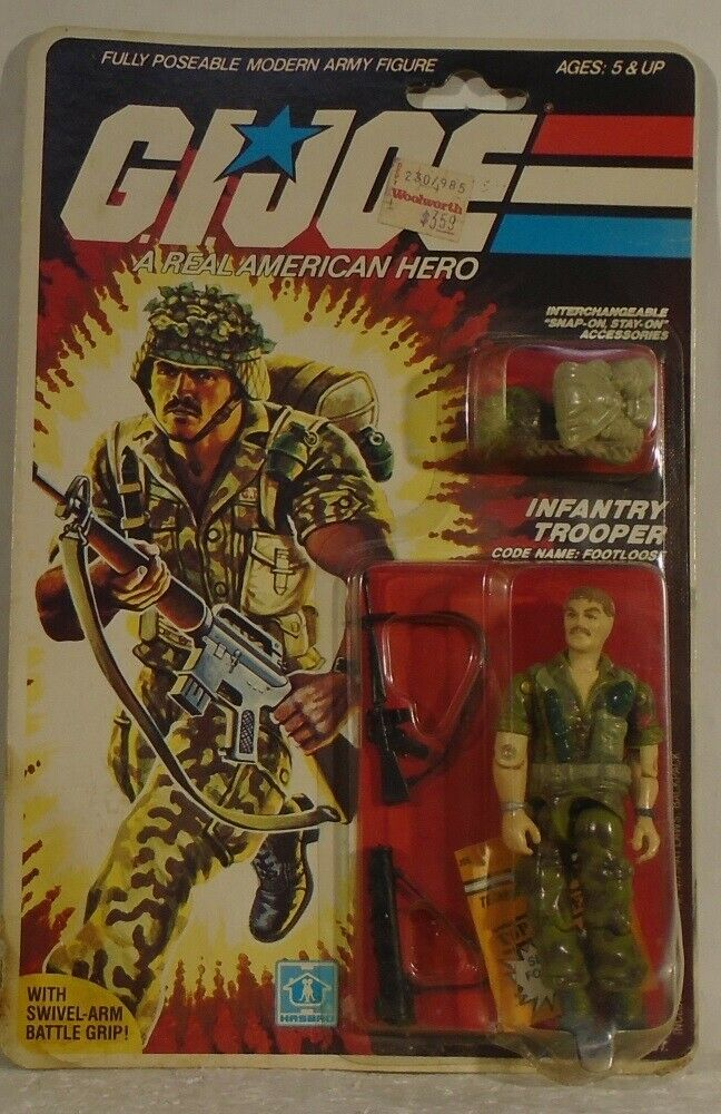 GI Joe 1985 Footloose Infantry Trooper Peach File Mint On Card MOC (See Photos)