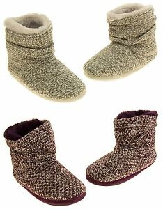 ad2abafe1efdd Ladies Coolers Warm Knitted Winter Fur Lined Slipper Boots Size 3-4 ...