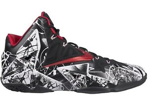 8a98581a80006 NIKE LEBRON XI 11 WHITE-UNIVERSITY RED-BLACK SZ 11 GRAFFITI!  616175 ...