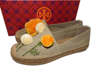 f13a4cfa3 Image is loading Tory-Burch-Natural-Linen-Lily-Pompom-Platform-Espadrilles-