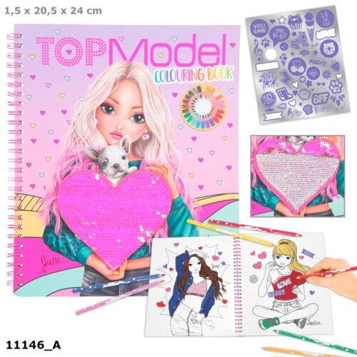 Depesche 11146 TOPModel Malbuch mit Pailletten 40 Motive Sticker