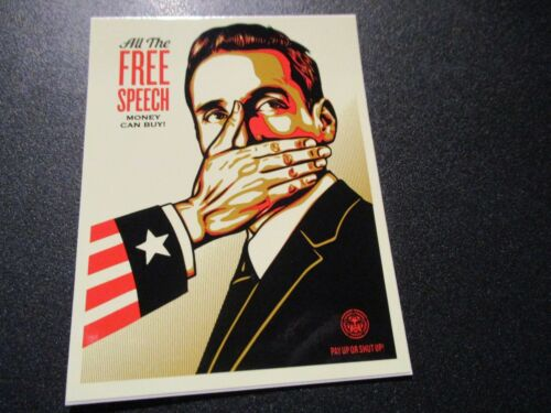 """SHEPARD FAIREY Obey Giant ALL THE FREE SPEECH Sticker 4 X 3/"""" art from poster"""