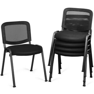 Set of 5 Conference Chair Mesh Back Office Waiting Room Guest Reception Black