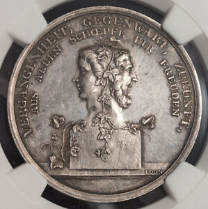 """1800, Germany. Scarce Silver """"New Year's & Janus Head"""" Medal by Loos. NGC MS-62!"""