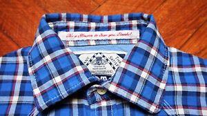 SCOTCH-amp-SODA-Roll-up-Long-Sleeve-Men-039-s-Blue-Plaid-Flannel-Shirt-size-Medium