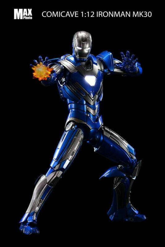 Comicave 1 12 Mark 30 Iron Man LED LED LED Light Action Figure blu Model Toy Collection 60f48d