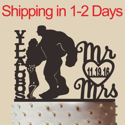 """Personalized Silhouette Wedding Cake topper,Wonder Woman and Hulk,Made in USA 6/"""""""