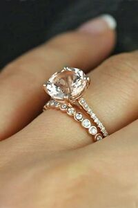 14k Rose Gold Over Round White Diamond Engagement Bridal Set Wedding
