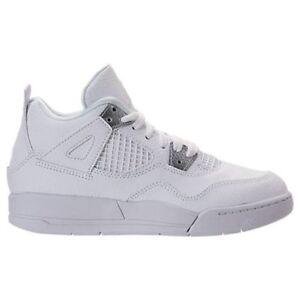 1861f9006aa2 New Air Jordan Kid s Retro 4 (PS) Shoes (308499-100) White Met ...