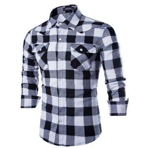 Men/'s Long Sleeve Casual Check Print Smart Cotton Work  Plaid Shirt Top