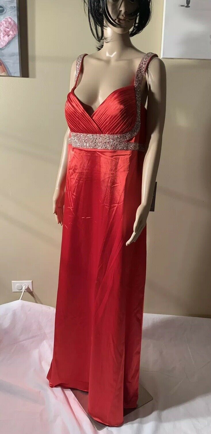 """Sally Usa Red Beaded Gown Size 3XL New - Length 60"""" Satin"""