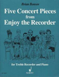 GéNéReuse Brian Bonsor Cinq Concert Pieces For Treble Recorder And Piano Sheet Music Book-afficher Le Titre D'origine Soyez Astucieux Dans Les Questions D'Argent