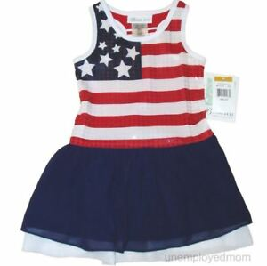 Patriotic-American-Flag-Dress-Girls-USA-Memorial-Day-July-4th-Red-White-Blue