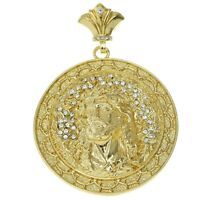 Jesus Piece Pendant Hip Hop Medallion Gold Finish Iced Out Bling Men Round Charm
