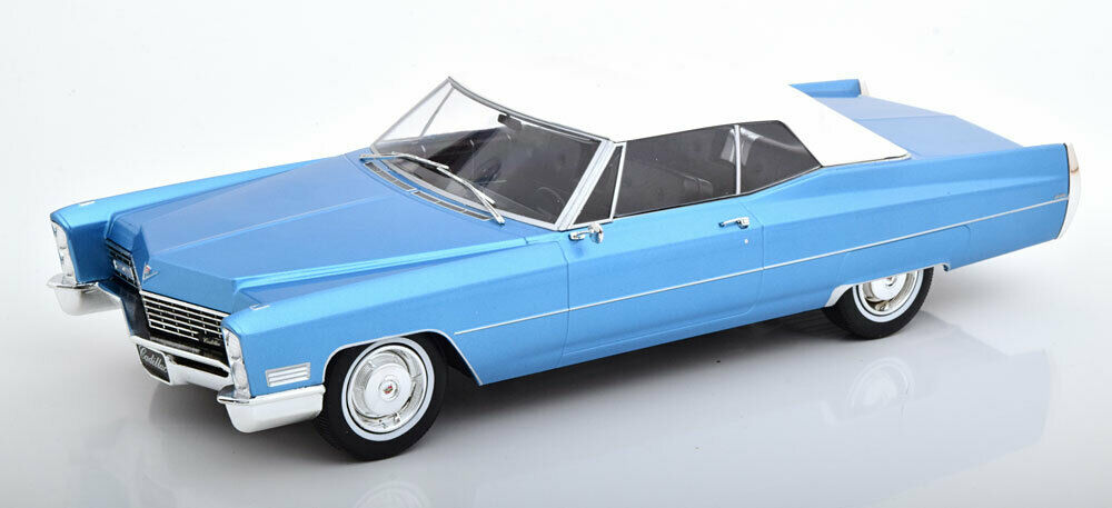 KK SCALE MODELS 1968 Cadillac DeVille with Softtop light bluee met. LE500 1 18
