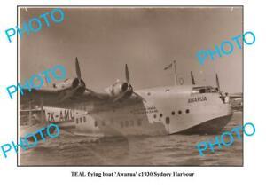OLD-8x6-PHOTO-TEAL-TASMAN-EMPIRE-AIRWAYS-FLYING-BOAT-c1930-SYDNEY