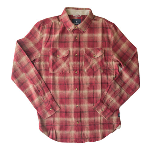 2018 NWT MENS ROARK REVIVAL TUNDRA FLANNEL BUTTON UP L//S SHIRT $65 burgundy